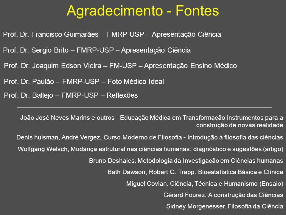 Agradecimento - Fontes Prof. Dr. Francisco Guimarães – FMRP-USP – Apresentação Ciência Prof. Dr. Sergio Brito – FMRP-USP – Apresentação Ciência Prof.