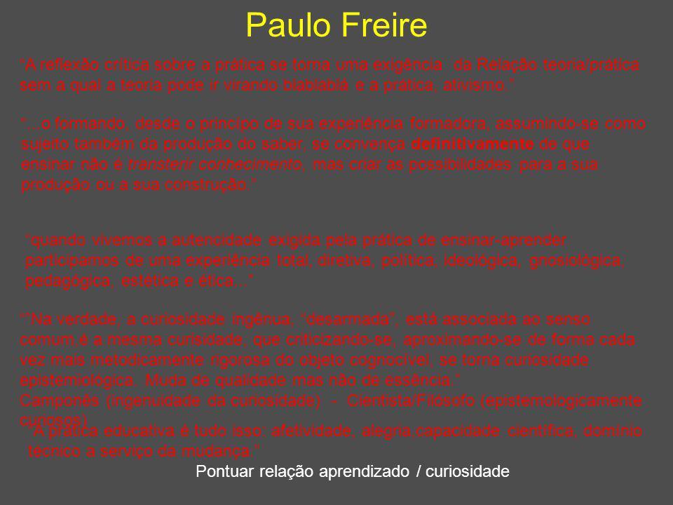 """Paulo Freire Pontuar relação aprendizado / curiosidade """"A reflexão crítica sobre a prática se torna uma exigência da Relação teoria/prática sem a qual"""
