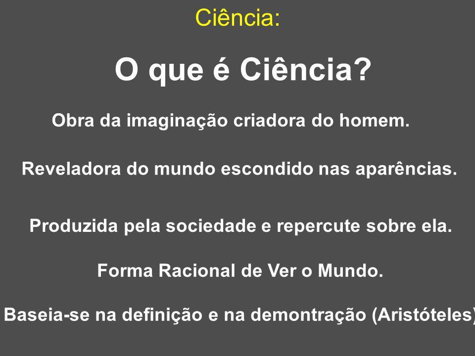 Ciência: Produzida pela sociedade e repercute sobre ela. O que é Ciência? Baseia-se na definição e na demontração (Aristóteles) Obra da imaginação cri