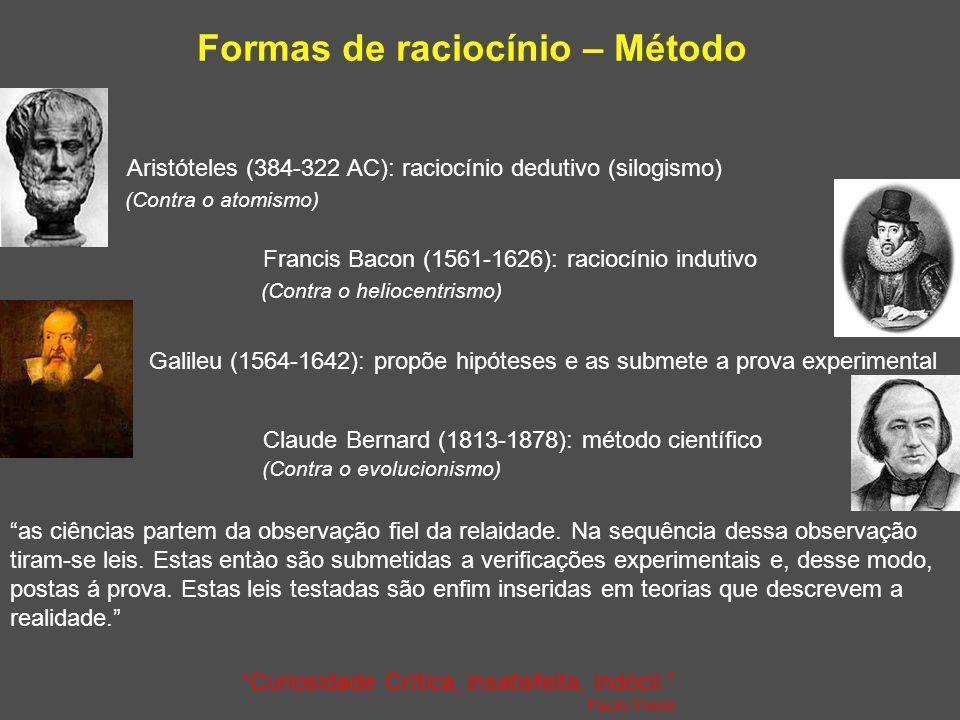 Formas de raciocínio – Método Aristóteles (384-322 AC): raciocínio dedutivo (silogismo) Francis Bacon (1561-1626): raciocínio indutivo Baseado em Heff