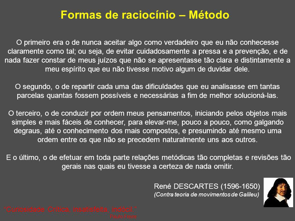 Formas de raciocínio – Método Baseado em Heffner CL. Research Methods, 2004 John Dewey (1859-1952) : Método científico 1.Identificar e definir o probl