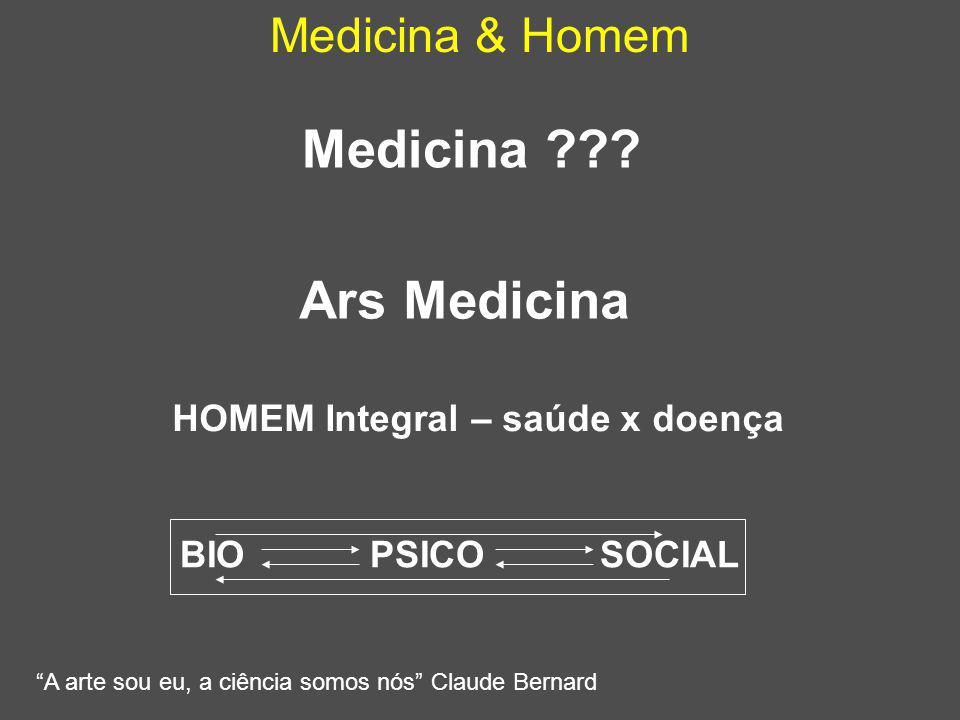 """Medicina & Homem Medicina ??? """"A arte sou eu, a ciência somos nós"""" Claude Bernard HOMEM Integral – saúde x doença Ars Medicina BIO PSICO SOCIAL"""