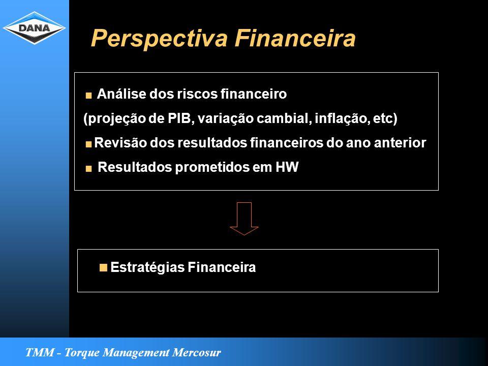 TMM - Torque Management Mercosur Perspectiva Financeira  Análise dos riscos financeiro (projeção de PIB, variação cambial, inflação, etc)  Revisão dos resultados financeiros do ano anterior  Resultados prometidos em HW  Estratégias Financeira