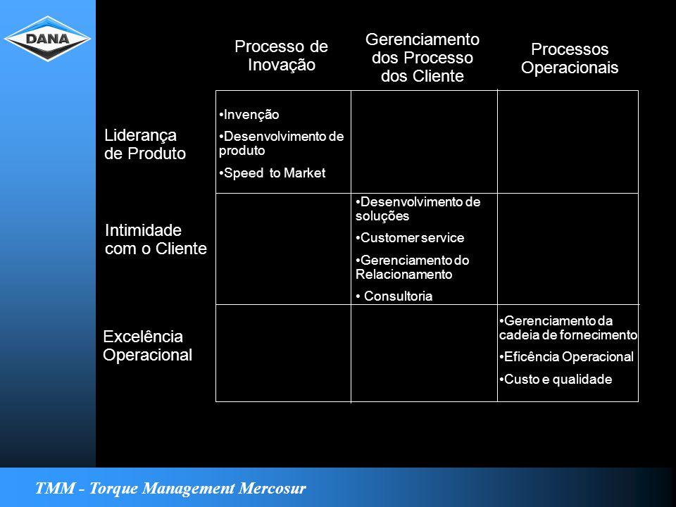 TMM - Torque Management Mercosur Processo de Inovação Gerenciamento dos Processo dos Cliente Processos Operacionais Liderança de Produto Intimidade com o Cliente Excelência Operacional Invenção Desenvolvimento de produto Speed to Market Desenvolvimento de soluções Customer service Gerenciamento do Relacionamento Consultoria Gerenciamento da cadeia de fornecimento Eficência Operacional Custo e qualidade