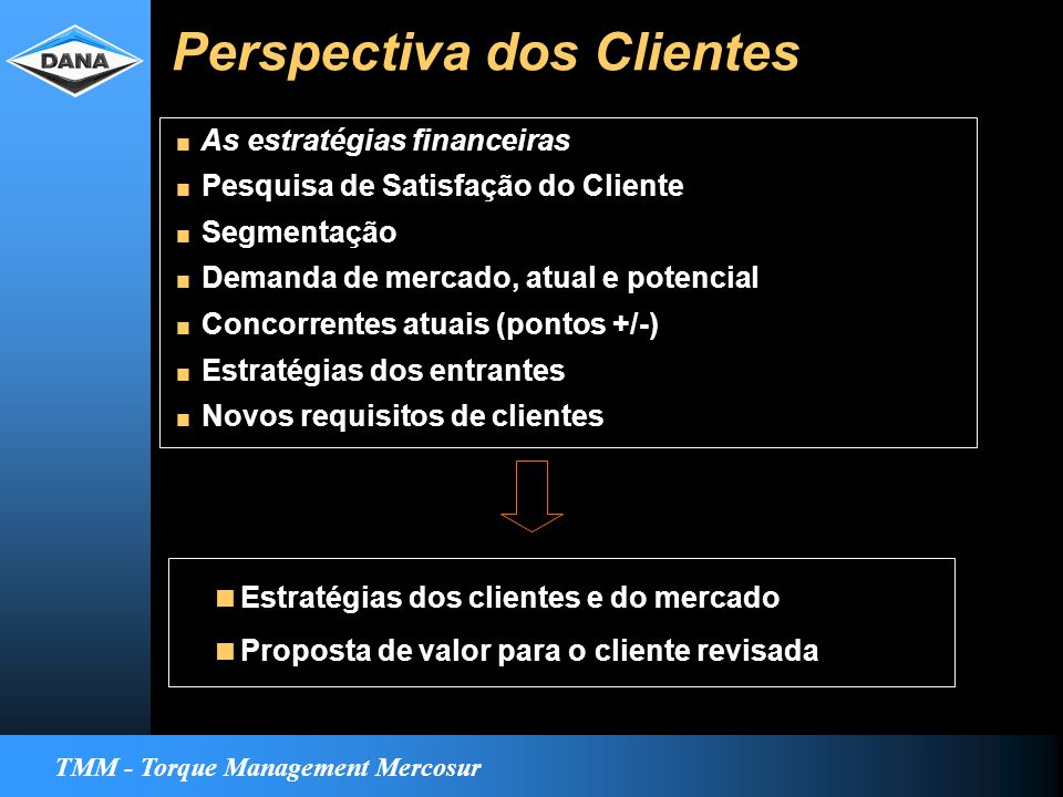 TMM - Torque Management Mercosur Perspectiva dos Clientes  Estratégias dos clientes e do mercado  Proposta de valor para o cliente revisada  As estratégias financeiras  Pesquisa de Satisfação do Cliente  Segmentação  Demanda de mercado, atual e potencial  Concorrentes atuais (pontos +/-)  Estratégias dos entrantes  Novos requisitos de clientes