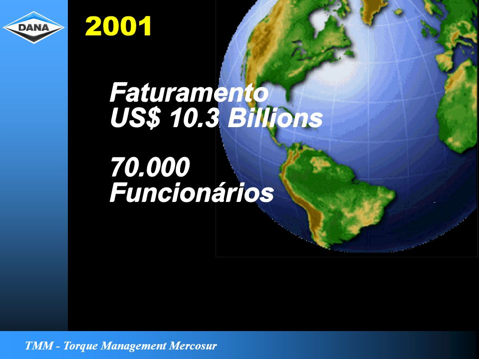 TMM - Torque Management Mercosur Faturamento US$ 10.3 Billions Faturamento US$ 10.3 Billions 70.000 Funcionários 70.000 Funcionários 2001