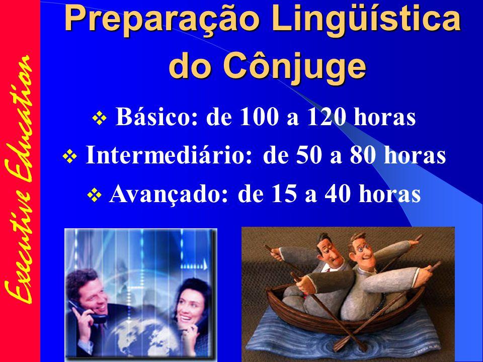 Executive Education Preparação Lingüística do Cônjuge  Básico: de 100 a 120 horas  Intermediário: de 50 a 80 horas  Avançado: de 15 a 40 horas