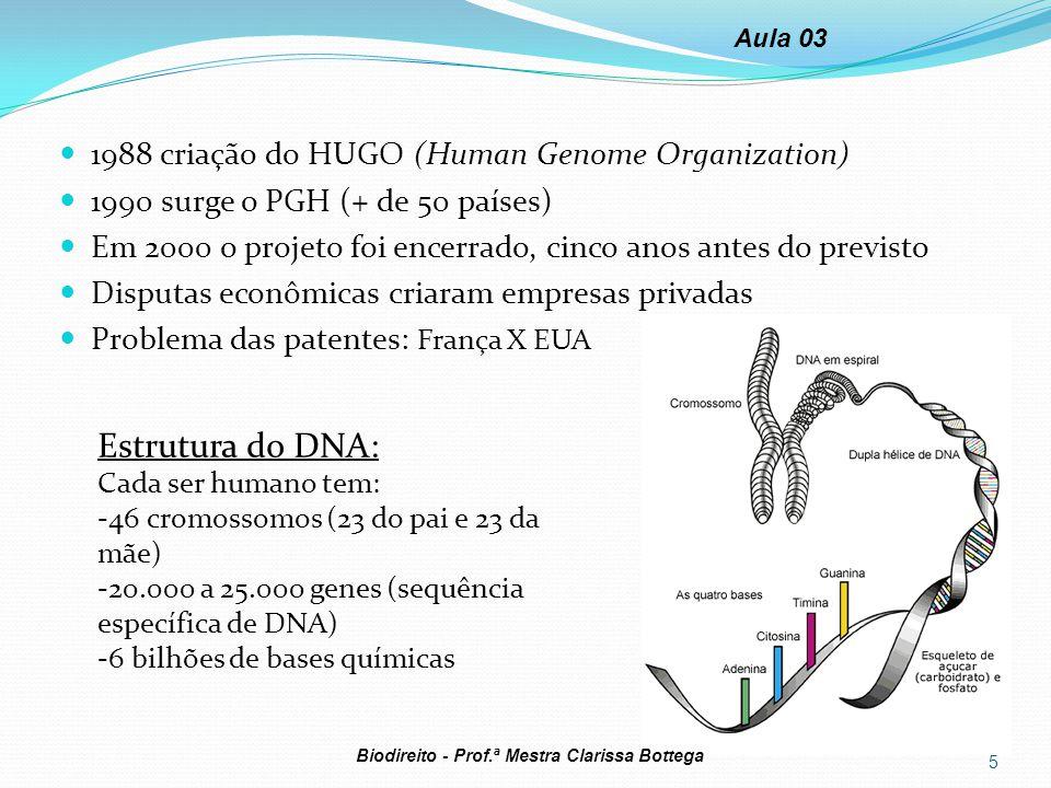 1988 criação do HUGO (Human Genome Organization) 1990 surge o PGH (+ de 50 países) Em 2000 o projeto foi encerrado, cinco anos antes do previsto Dispu