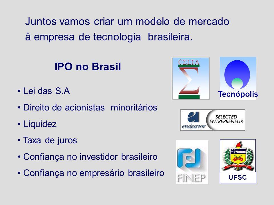 Tecnópolis UFSC Juntos vamos criar um modelo de mercado à empresa de tecnologia brasileira. Lei das S.A Direito de acionistas minoritários Liquidez Ta