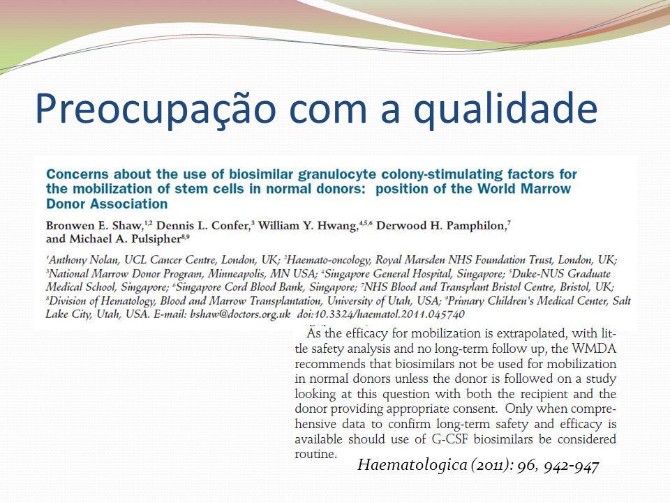 Preocupação com a qualidade Haematologica (2011): 96, 942-947