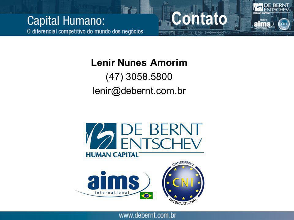 Contato Lenir Nunes Amorim (47) 3058.5800 lenir@debernt.com.br