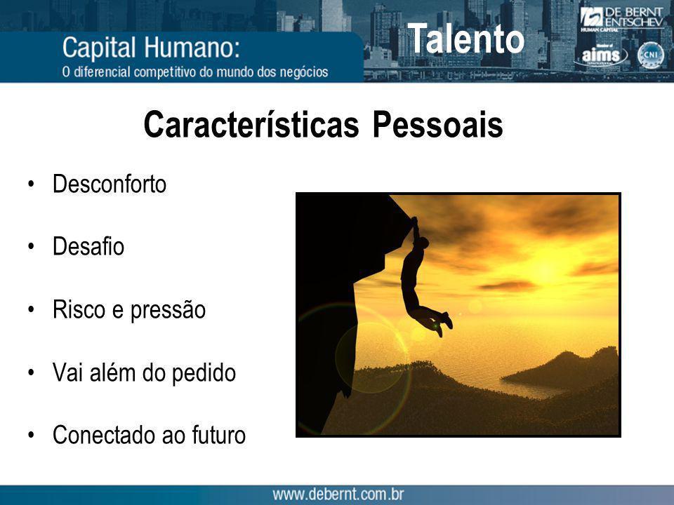 Características Pessoais Desconforto Desafio Risco e pressão Vai além do pedido Conectado ao futuro Talento