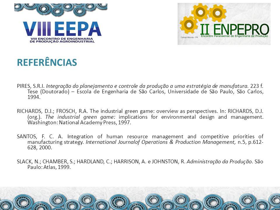 REFERÊNCIAS PIRES, S.R.I. Integração do planejamento e controle da produção a uma estratégia de manufatura. 223 f. Tese (Doutorado) – Escola de Engenh