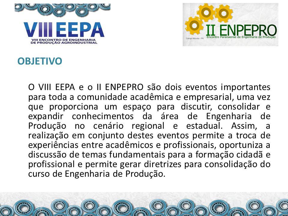 OBJETIVO O VIII EEPA e o II ENPEPRO são dois eventos importantes para toda a comunidade acadêmica e empresarial, uma vez que proporciona um espaço par