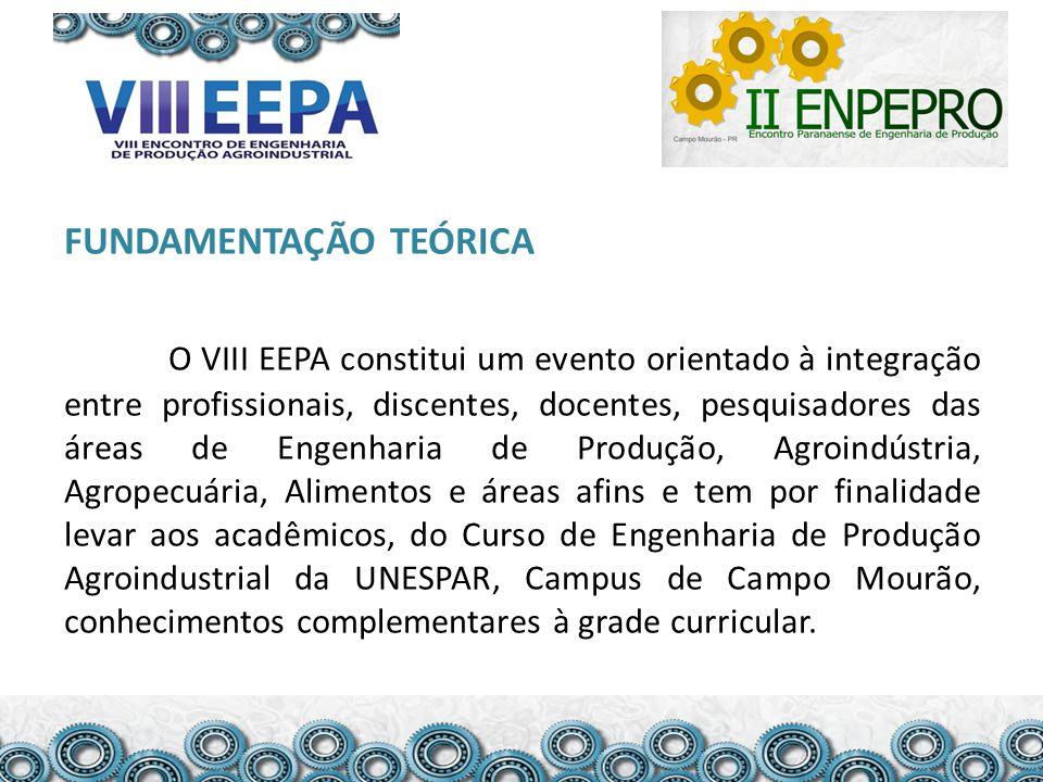 FUNDAMENTAÇÃO TEÓRICA O VIII EEPA constitui um evento orientado à integração entre profissionais, discentes, docentes, pesquisadores das áreas de Enge