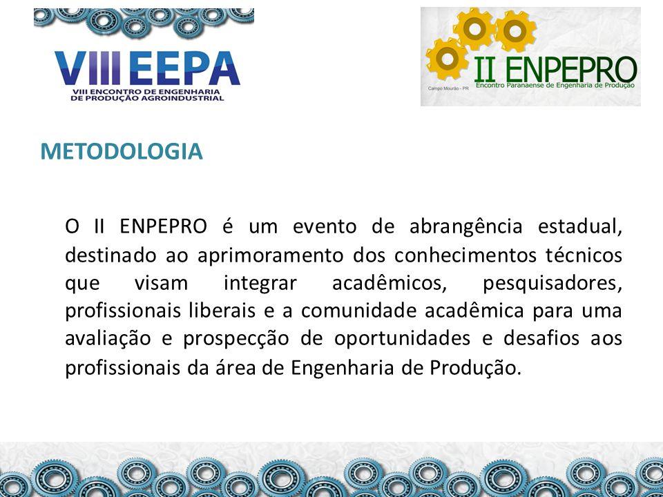 METODOLOGIA O II ENPEPRO é um evento de abrangência estadual, destinado ao aprimoramento dos conhecimentos técnicos que visam integrar acadêmicos, pes