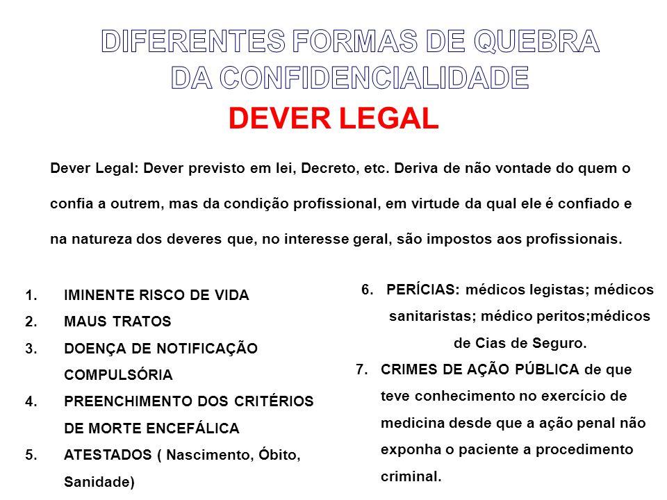 DEVER LEGAL Dever Legal: Dever previsto em lei, Decreto, etc.