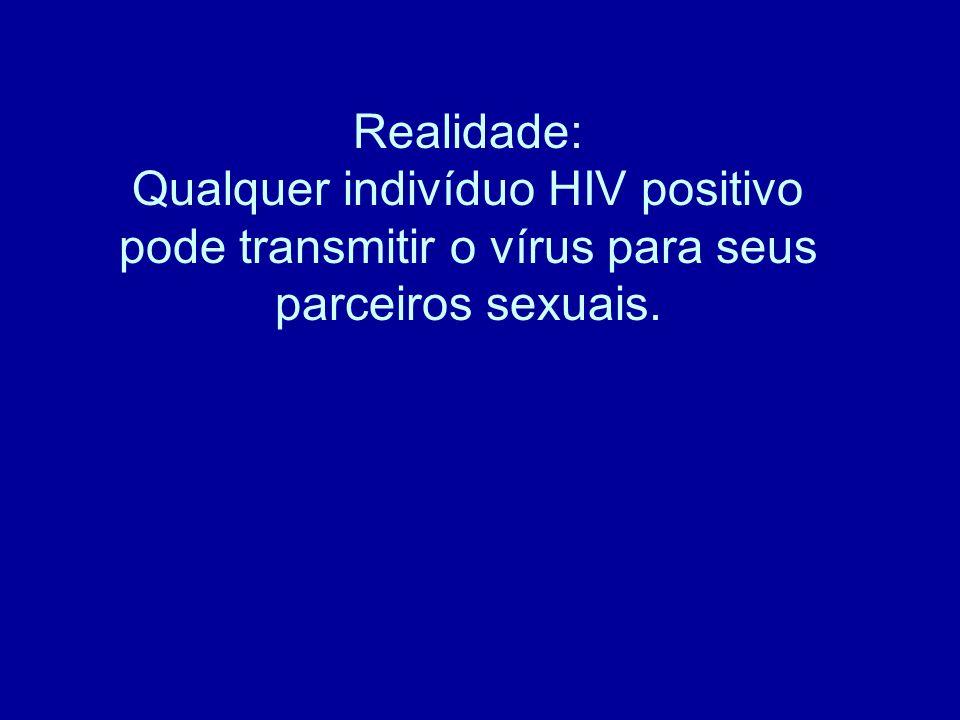 Realidade: Qualquer indivíduo HIV positivo pode transmitir o vírus para seus parceiros sexuais.