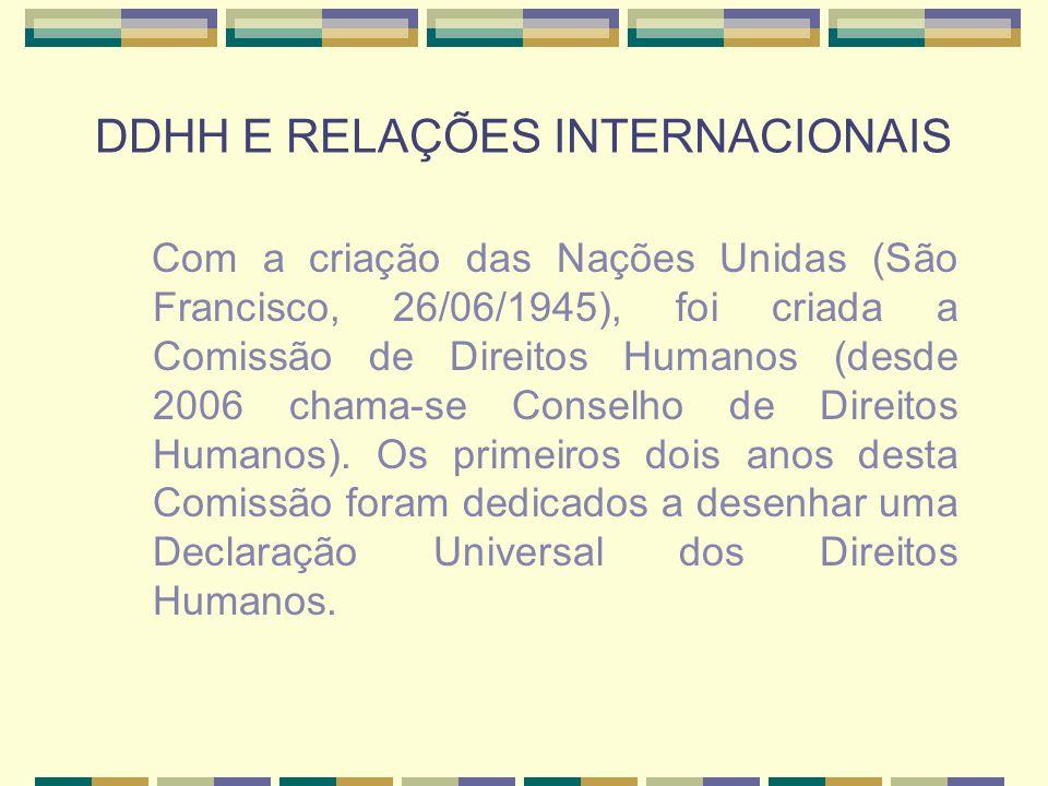 DDHH E RELAÇÕES INTERNACIONAIS Com a criação das Nações Unidas (São Francisco, 26/06/1945), foi criada a Comissão de Direitos Humanos (desde 2006 cham