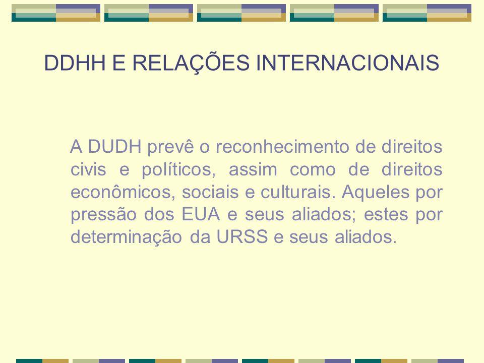 DDHH E RELAÇÕES INTERNACIONAIS A DUDH prevê o reconhecimento de direitos civis e políticos, assim como de direitos econômicos, sociais e culturais. Aq