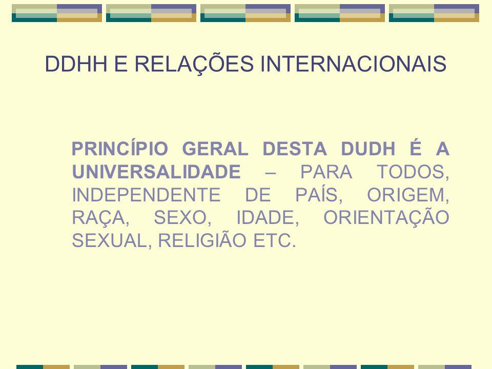 DDHH E RELAÇÕES INTERNACIONAIS PRINCÍPIO GERAL DESTA DUDH É A UNIVERSALIDADE – PARA TODOS, INDEPENDENTE DE PAÍS, ORIGEM, RAÇA, SEXO, IDADE, ORIENTAÇÃO