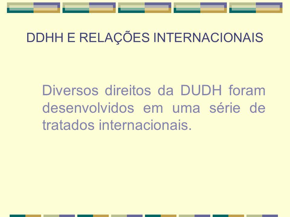 DDHH E RELAÇÕES INTERNACIONAIS Diversos direitos da DUDH foram desenvolvidos em uma série de tratados internacionais.