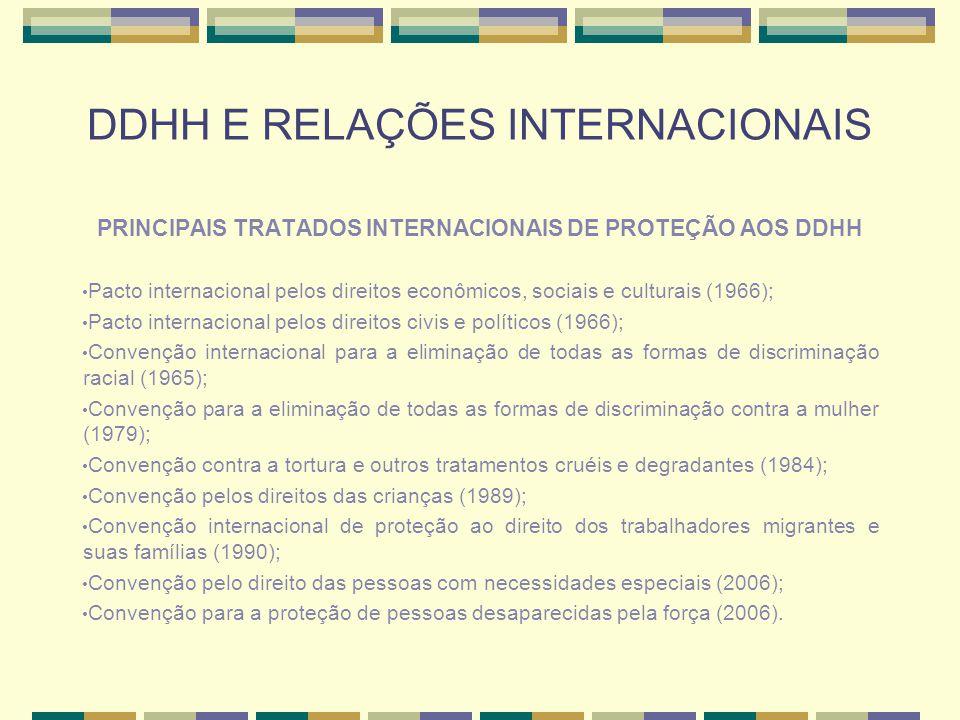 DDHH E RELAÇÕES INTERNACIONAIS PRINCIPAIS TRATADOS INTERNACIONAIS DE PROTEÇÃO AOS DDHH Pacto internacional pelos direitos econômicos, sociais e cultur
