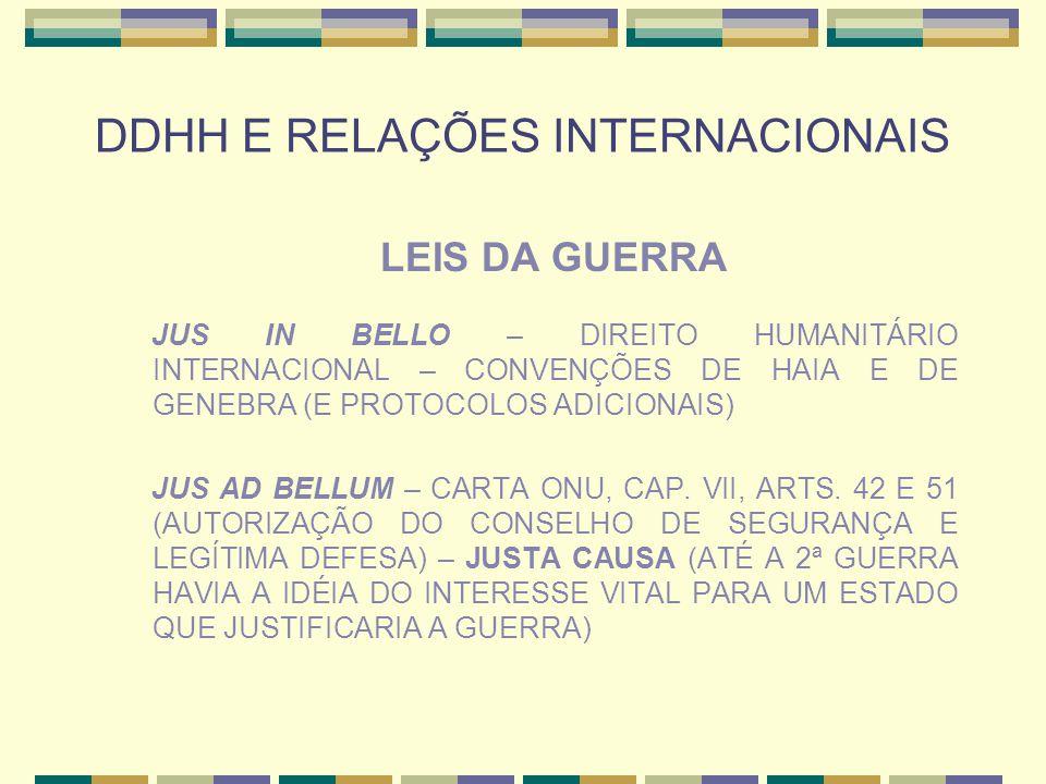DDHH E RELAÇÕES INTERNACIONAIS LEIS DA GUERRA JUS IN BELLO – DIREITO HUMANITÁRIO INTERNACIONAL – CONVENÇÕES DE HAIA E DE GENEBRA (E PROTOCOLOS ADICION