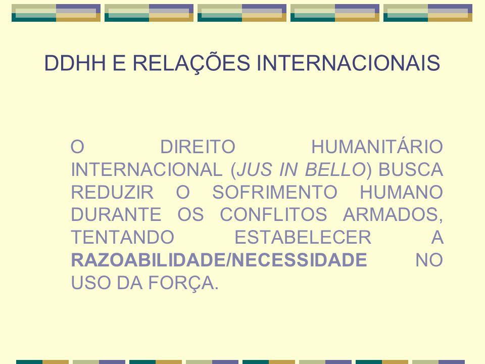 DDHH E RELAÇÕES INTERNACIONAIS O DIREITO HUMANITÁRIO INTERNACIONAL (JUS IN BELLO) BUSCA REDUZIR O SOFRIMENTO HUMANO DURANTE OS CONFLITOS ARMADOS, TENT
