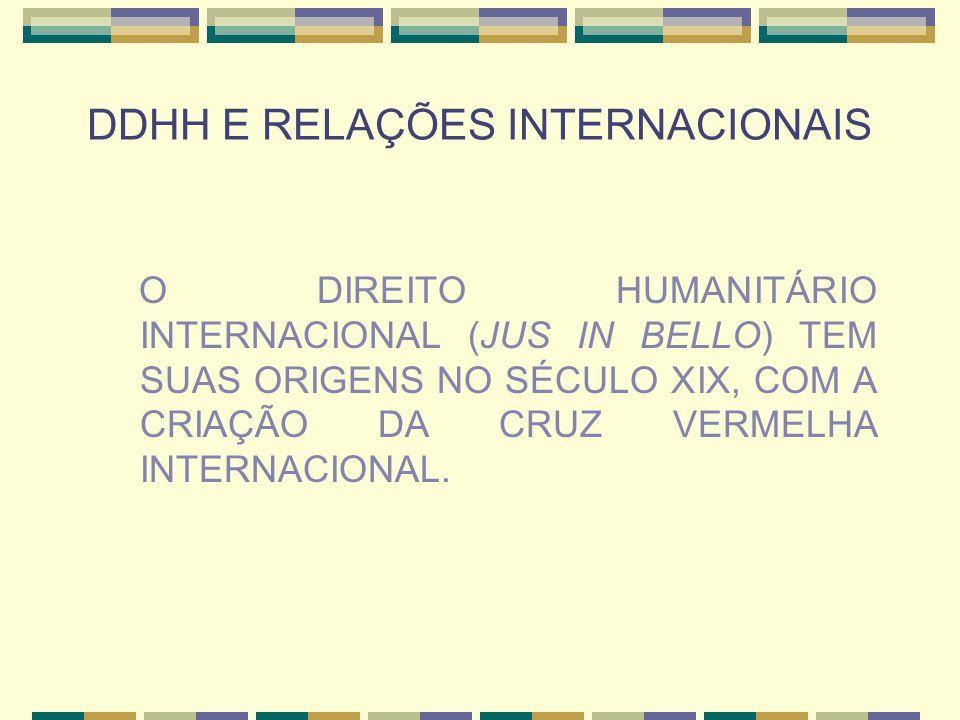 DDHH E RELAÇÕES INTERNACIONAIS O DIREITO HUMANITÁRIO INTERNACIONAL (JUS IN BELLO) TEM SUAS ORIGENS NO SÉCULO XIX, COM A CRIAÇÃO DA CRUZ VERMELHA INTER
