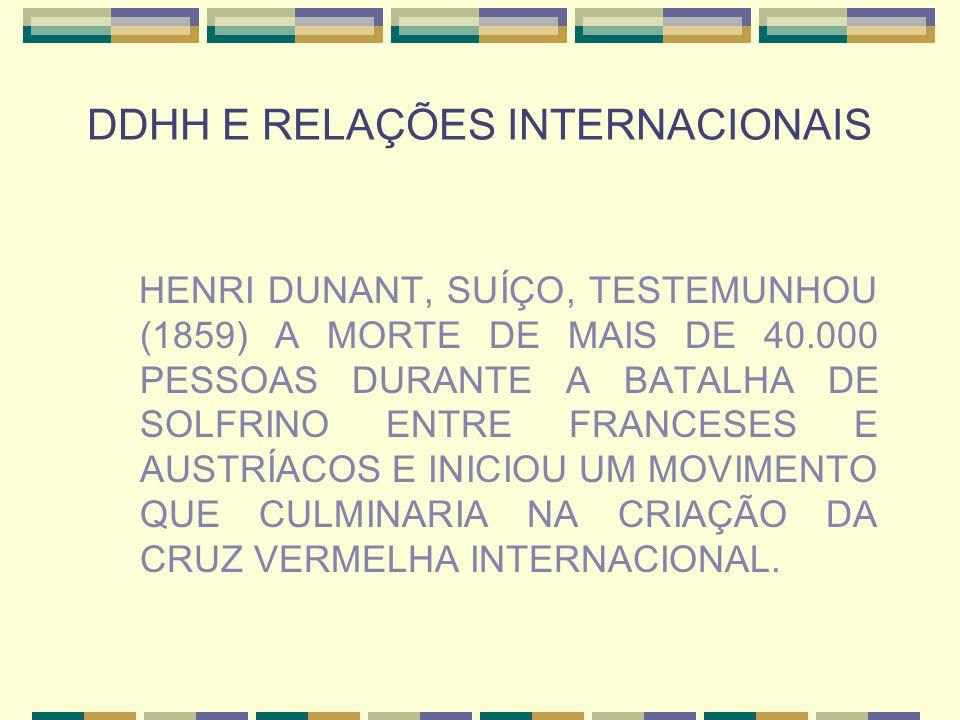 DDHH E RELAÇÕES INTERNACIONAIS HENRI DUNANT, SUÍÇO, TESTEMUNHOU (1859) A MORTE DE MAIS DE 40.000 PESSOAS DURANTE A BATALHA DE SOLFRINO ENTRE FRANCESES