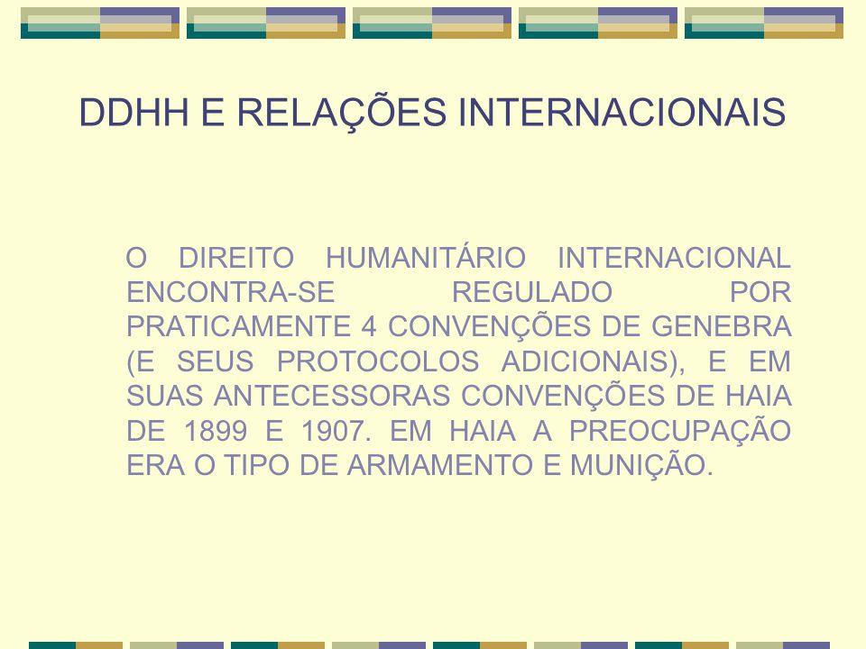DDHH E RELAÇÕES INTERNACIONAIS O DIREITO HUMANITÁRIO INTERNACIONAL ENCONTRA-SE REGULADO POR PRATICAMENTE 4 CONVENÇÕES DE GENEBRA (E SEUS PROTOCOLOS AD