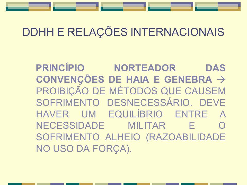 DDHH E RELAÇÕES INTERNACIONAIS PRINCÍPIO NORTEADOR DAS CONVENÇÕES DE HAIA E GENEBRA  PROIBIÇÃO DE MÉTODOS QUE CAUSEM SOFRIMENTO DESNECESSÁRIO. DEVE H