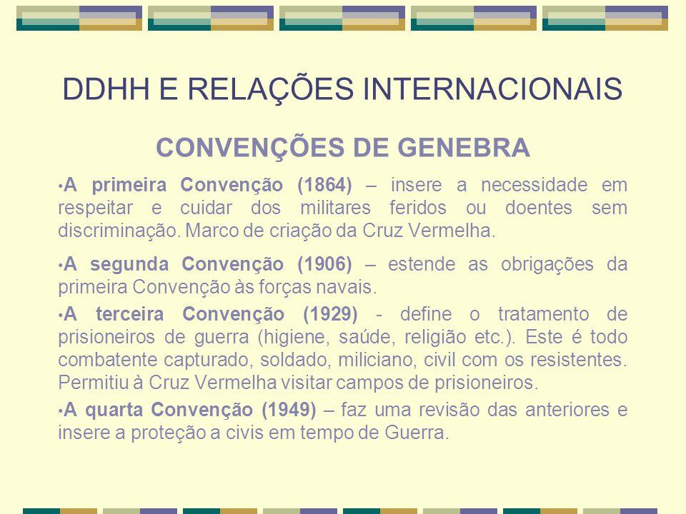 DDHH E RELAÇÕES INTERNACIONAIS CONVENÇÕES DE GENEBRA A primeira Convenção (1864) – insere a necessidade em respeitar e cuidar dos militares feridos ou