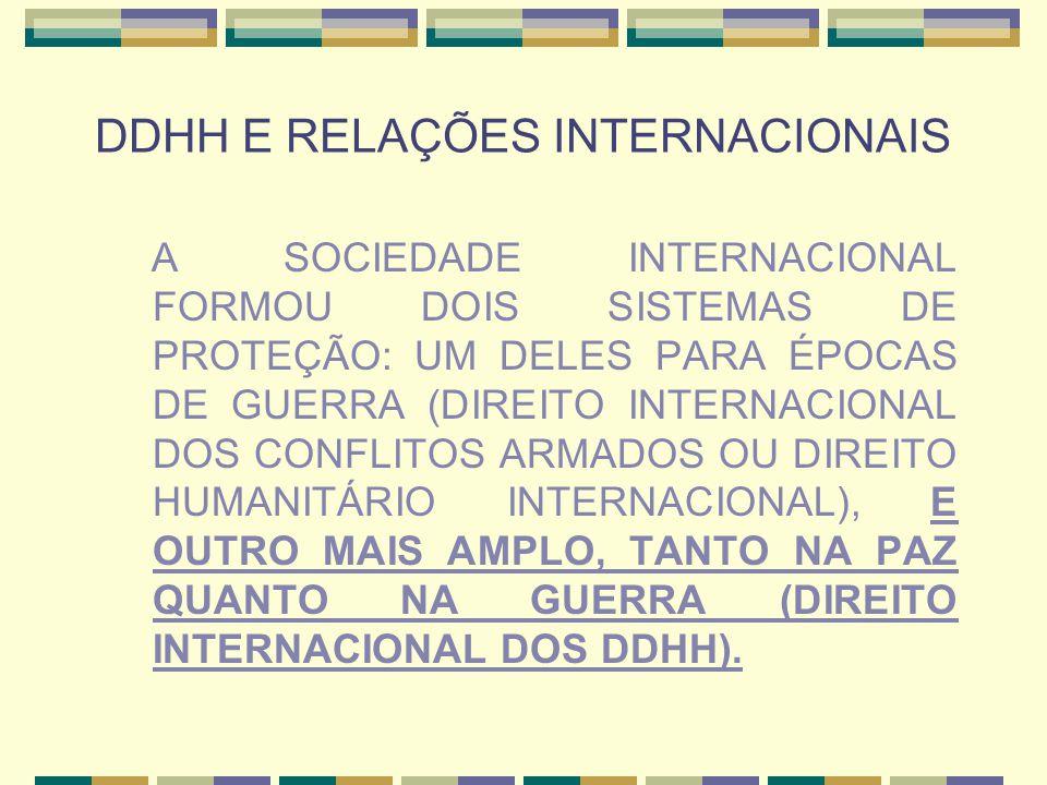 DDHH E RELAÇÕES INTERNACIONAIS Além da preocupação dos Estados em conter violações a DDHH, hoje novos atores das relações internacionais, como as ONGs, desempenham importante papel na defesa dos DDHH pelo mundo, utilizando o regime de proteção estabelecido nos tratados e documentos de DDHH existentes na sociedade internacional.