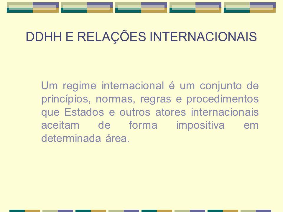 DDHH E RELAÇÕES INTERNACIONAIS Exemplos: - Regime internacional de proteção ao meio ambiente - Regime internacional de exploração do mar, da lua, da Antártida - Regime internacional de proteção das nações indígenas