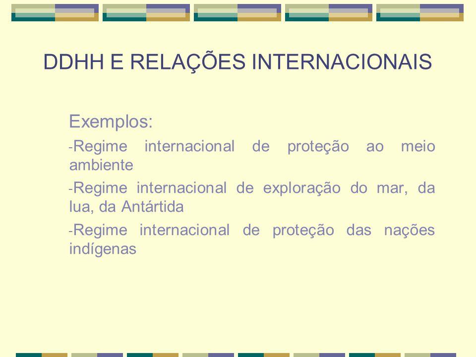 DDHH E RELAÇÕES INTERNACIONAIS Exemplos: - Regime internacional de proteção ao meio ambiente - Regime internacional de exploração do mar, da lua, da A
