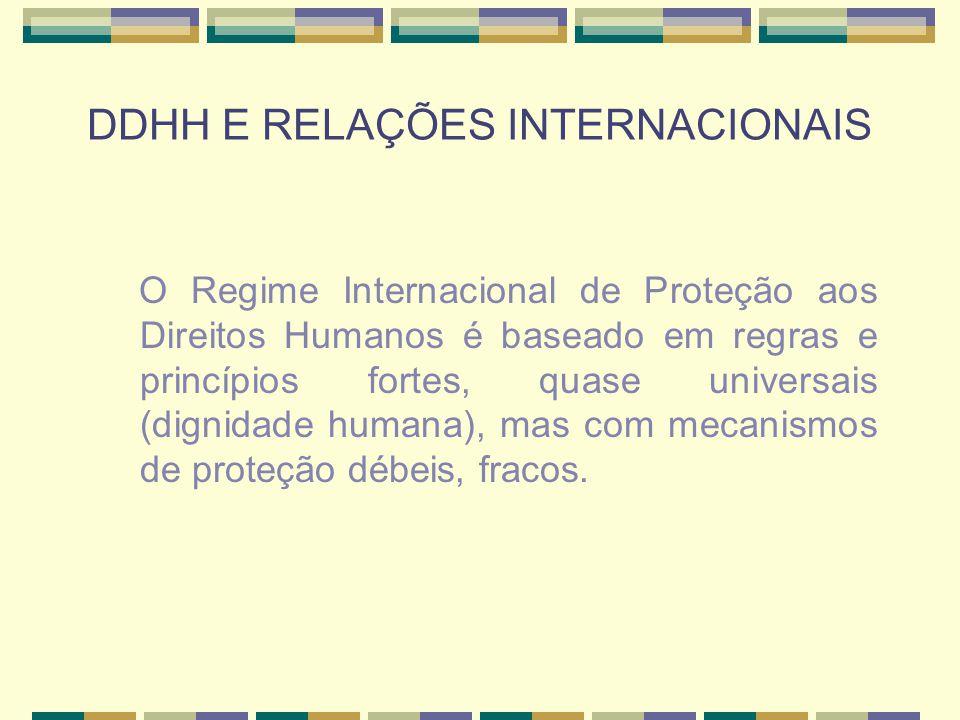 DDHH E RELAÇÕES INTERNACIONAIS O Regime Internacional de Proteção aos Direitos Humanos é baseado em regras e princípios fortes, quase universais (dign