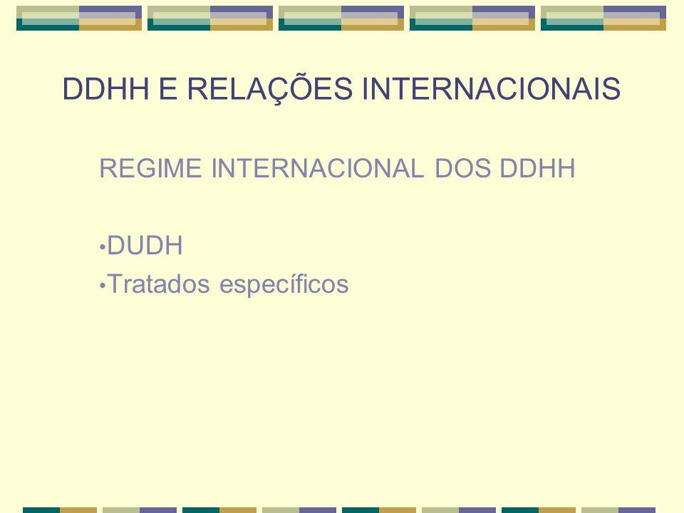 DDHH E RELAÇÕES INTERNACIONAIS Com a criação das Nações Unidas (São Francisco, 26/06/1945), foi criada a Comissão de Direitos Humanos (desde 2006 chama-se Conselho de Direitos Humanos).