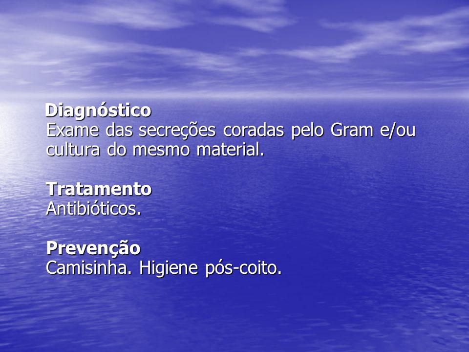 Diagnóstico Exame das secreções coradas pelo Gram e/ou cultura do mesmo material.