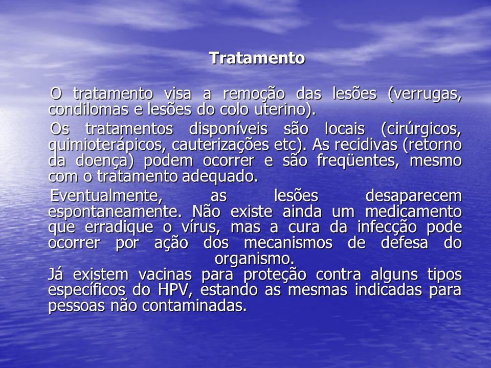 Tratamento Tratamento O tratamento visa a remoção das lesões (verrugas, condilomas e lesões do colo uterino). O tratamento visa a remoção das lesões (