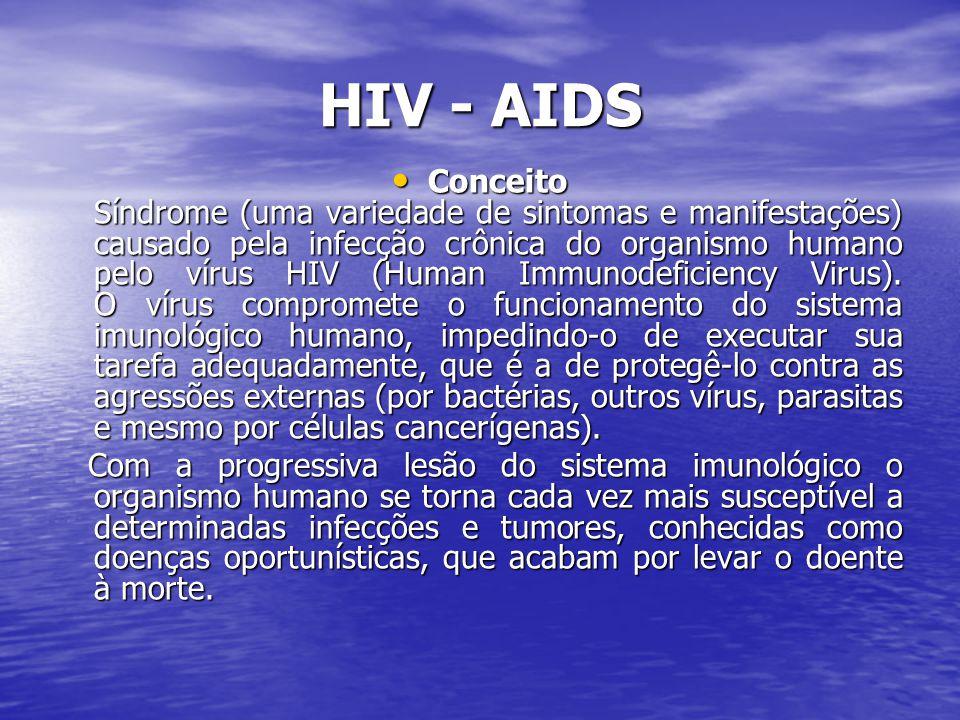 HIV - AIDS Conceito Síndrome (uma variedade de sintomas e manifestações) causado pela infecção crônica do organismo humano pelo vírus HIV (Human Immunodeficiency Virus).
