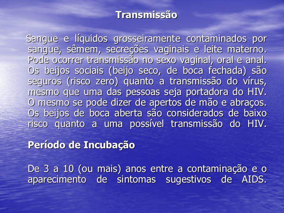 Transmissão Transmissão Sangue e líquidos grosseiramente contaminados por sangue, sêmem, secreções vaginais e leite materno.
