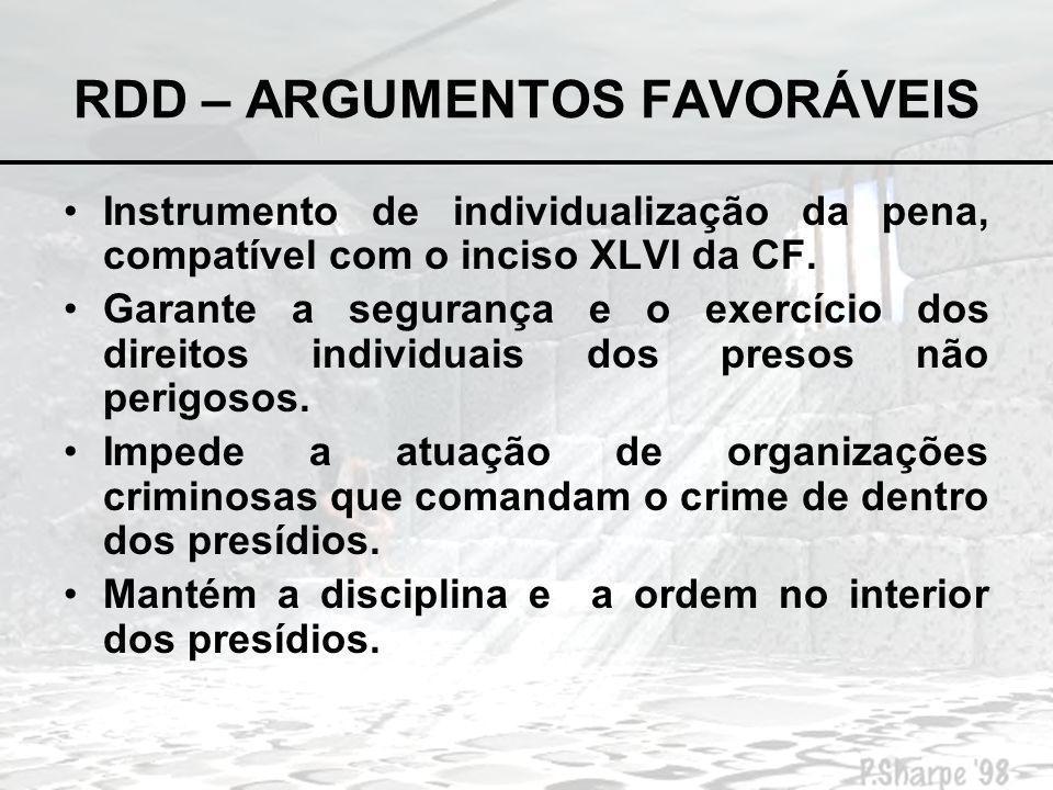 RDD – ARGUMENTOS CONTRÁRIOS Atenta contra o princípio constitucional da legalidade penal (taxatividade); Agride o princípio da ressocialização do apenado.