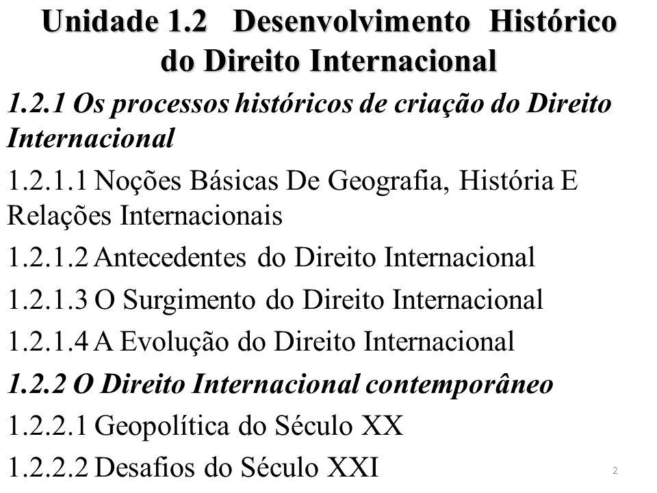 1.2.1 Os processos históricos de criação do Direito Internacional 1.2.1.1 Noções Básicas De Geografia, História E Relações Internacionais 1.2.1.2 Ante
