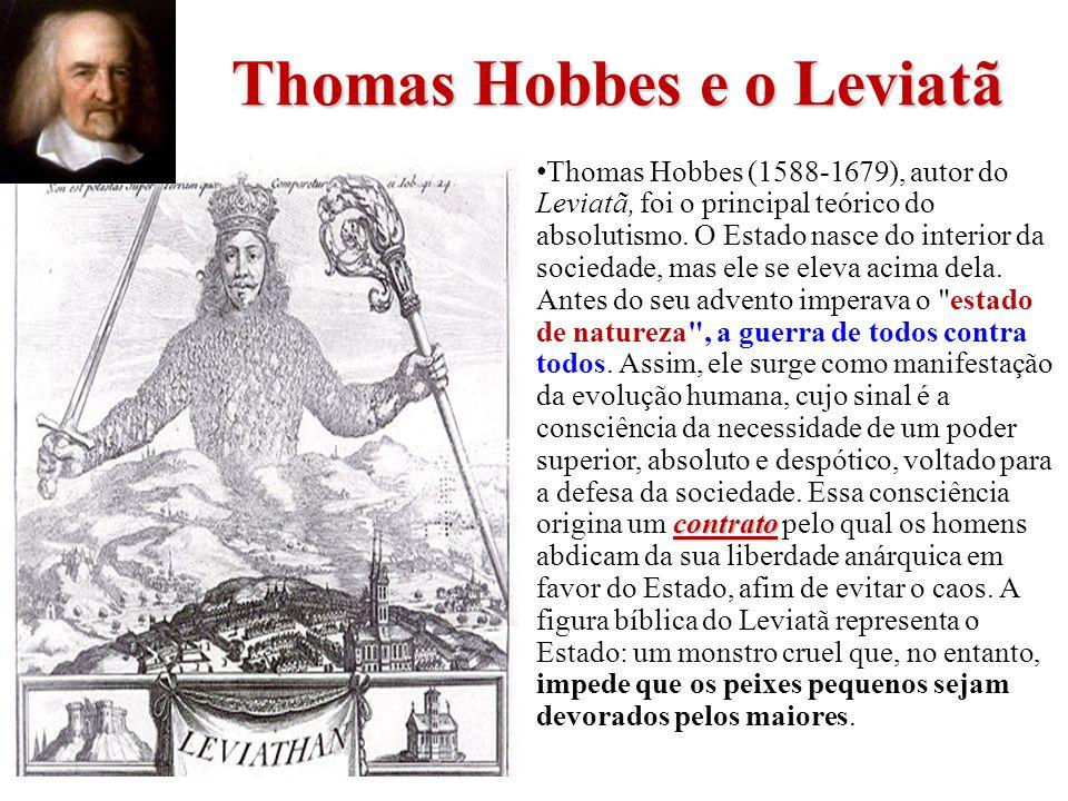 Thomas Hobbes e o Leviatã contrato Thomas Hobbes (1588-1679), autor do Leviatã, foi o principal teórico do absolutismo. O Estado nasce do interior da