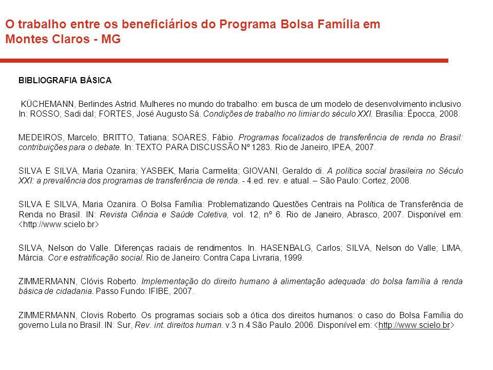O trabalho entre os beneficiários do Programa Bolsa Família em Montes Claros - MG BIBLIOGRAFIA BÁSICA KÜCHEMANN, Berlindes Astrid. Mulheres no mundo d
