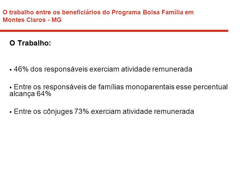 O trabalho entre os beneficiários do Programa Bolsa Família em Montes Claros - MG Mercado Formal: Dentre os que trabalhavam:  8% dos responsáveis estavam inseridos no mercado formal  Entre os cônjuges 19% estavam inseridos no mercado formal