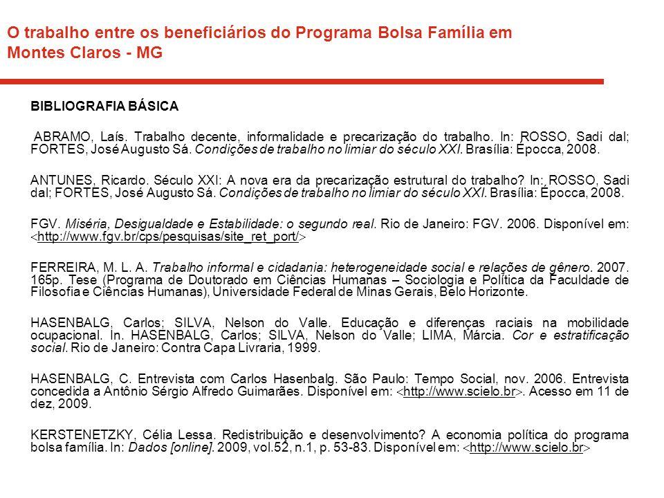O trabalho entre os beneficiários do Programa Bolsa Família em Montes Claros - MG BIBLIOGRAFIA BÁSICA ABRAMO, Laís. Trabalho decente, informalidade e