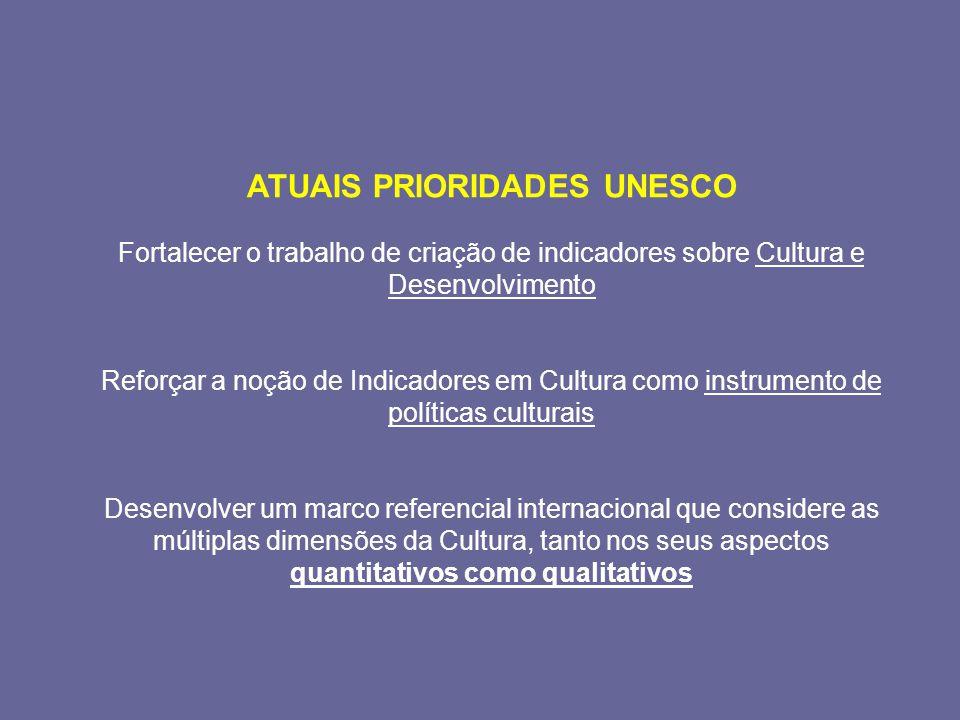 ATUAIS PRIORIDADES UNESCO Fortalecer o trabalho de criação de indicadores sobre Cultura e Desenvolvimento Reforçar a noção de Indicadores em Cultura como instrumento de políticas culturais Desenvolver um marco referencial internacional que considere as múltiplas dimensões da Cultura, tanto nos seus aspectos quantitativos como qualitativos